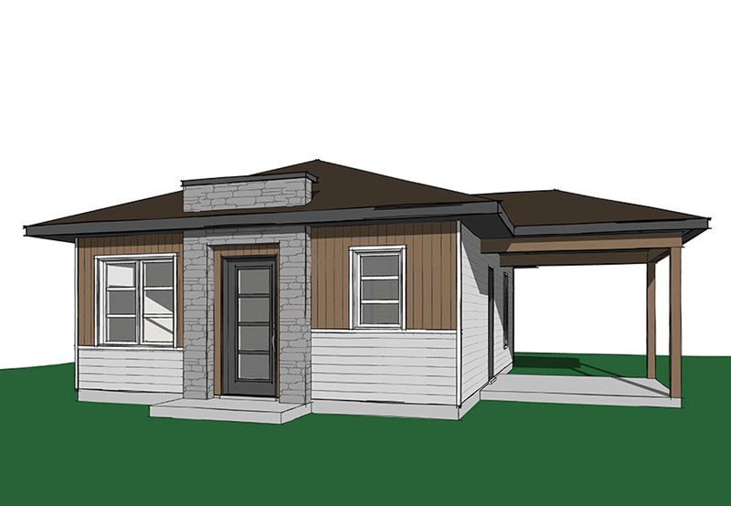 Prairie Style Floor Plan Front Image - Gavyn Modern Cabin 032D-0814 | House Plans and More