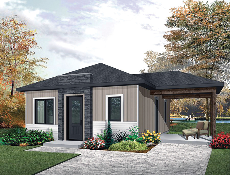 Prairie Style Floor Plan Front of Home - Gavyn Modern Cabin 032D-0814 | House Plans and More