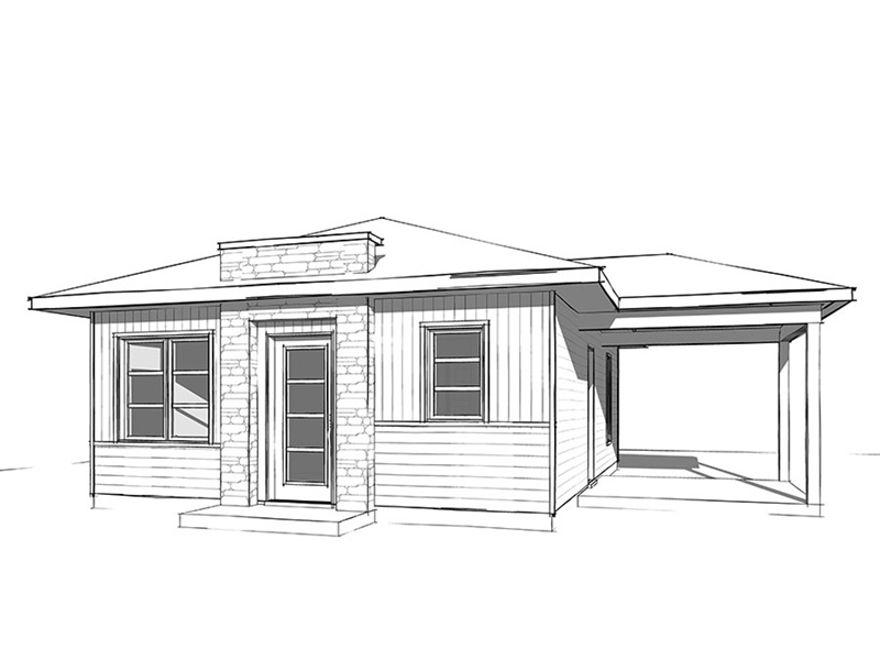 Cabin & Cottage House Plan Front Image of House - Gavyn Modern Cabin 032D-0814   House Plans and More