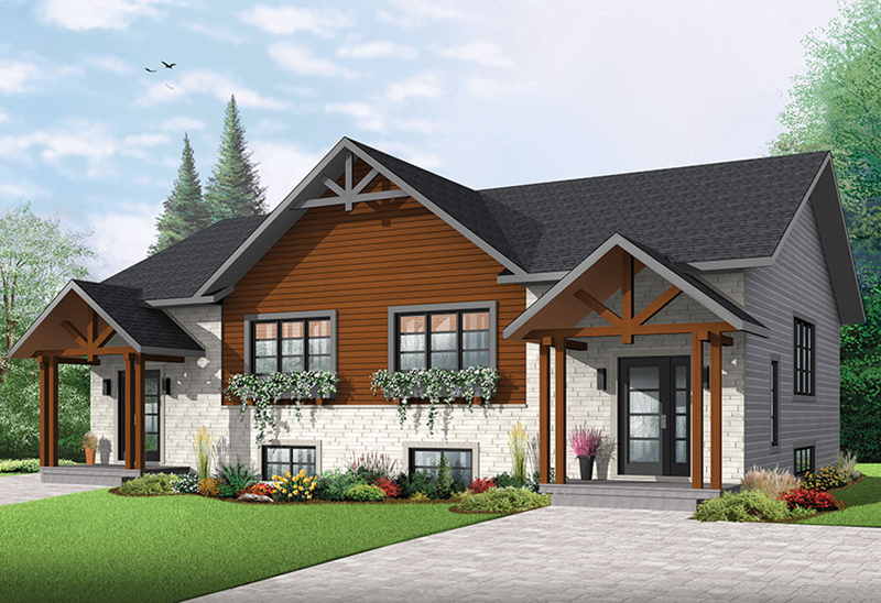 Multi-Family House Plan Front of Home - Audrey Creek Craftsman Duplex 032D-0819 | House Plans and More