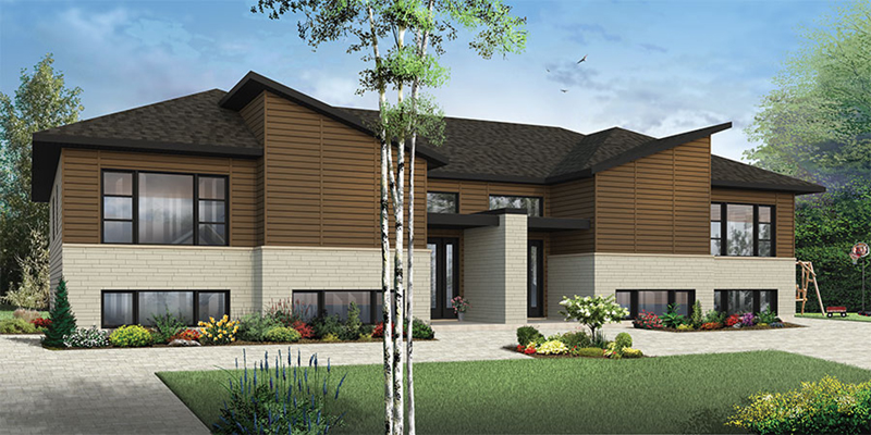 Contemporary House Plan Front of Home - Bandon Modern Duplex 032D-0820 | House Plans and More
