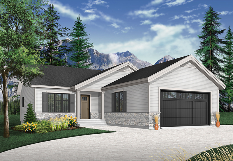 Ranch House Plan Front of Home - Macey Mill Rustic Ranch Home 032D-0828 | House Plans and More