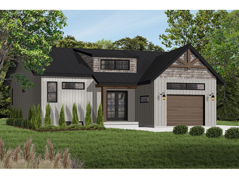Prairie Style Floor Plan Front Photo 01 - Urban Valley 032D-0877 | House Plans and More