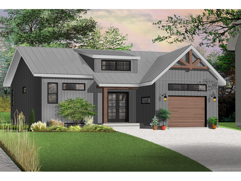 Prairie Style Floor Plan Front Photo 02 - Urban Valley 032D-0877 | House Plans and More