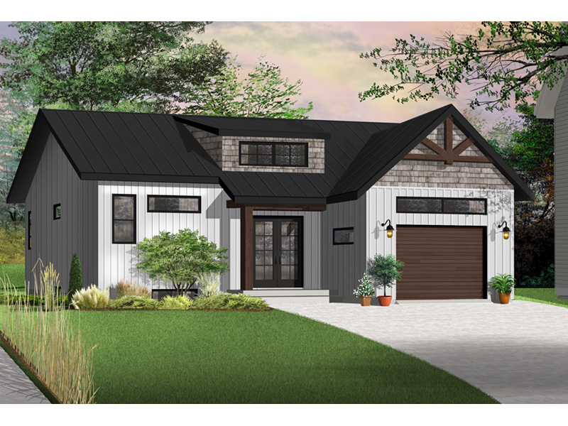 Prairie Style Floor Plan Front Photo 03 - Urban Valley 032D-0877 | House Plans and More