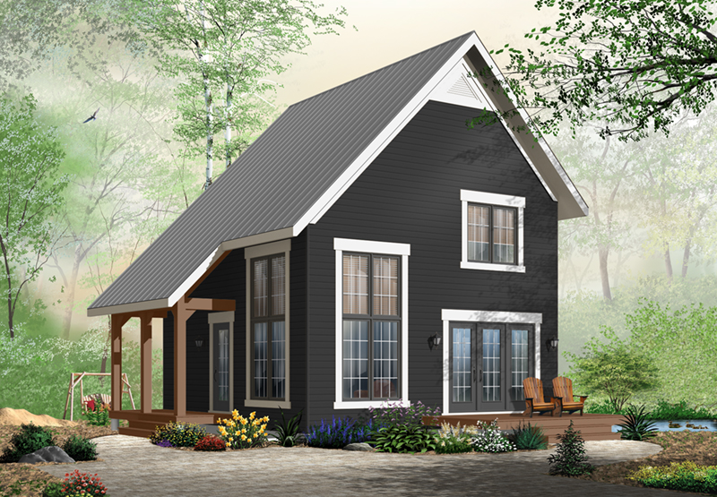 Vacation House Plan Front of Home - Ingleside Prairie Style Home 032D-0935 | House Plans and More