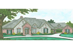 Traditional House Plan Front of Home - Kenley Luxury Ranch Home 036D-0202 | House Plans and More
