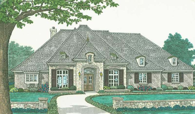 Country French House Plan Front of Home -  036D-0206   House Plans and More
