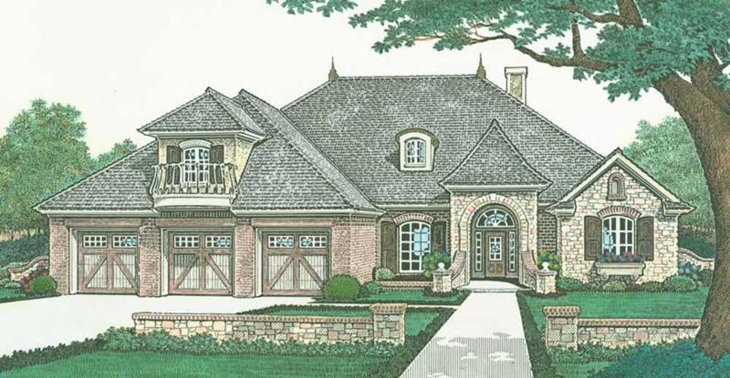 Country House Plan Front of Home - Presley European Tudor Home 036D-0207 | House Plans and More
