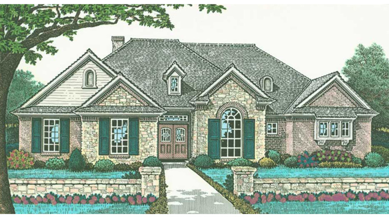 European House Plan Front of Home - Gamlin Traditional Ranch Home 036D-0212   House Plans and More