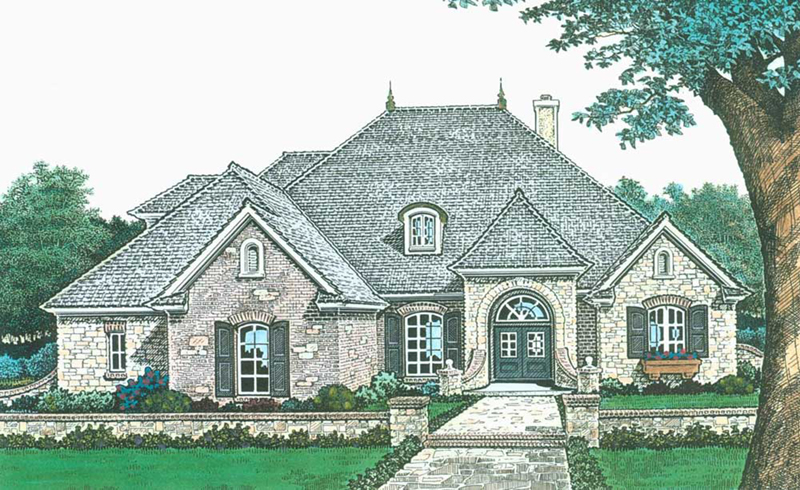 Traditional House Plan Front of Home -  036D-0213 | House Plans and More