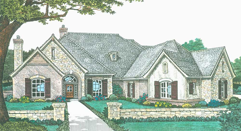 Neoclassical Home Plan Front of Home -  036D-0214   House Plans and More