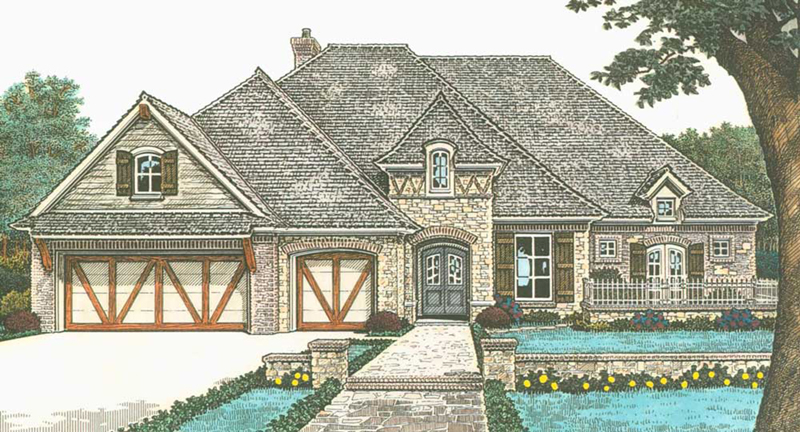 Tudor House Plan Front of Home -  036D-0215 | House Plans and More