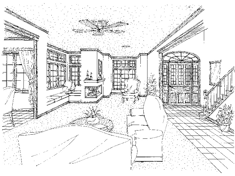 Lake House Plan Great Room Photo 01 - Darbytown English Cottage Home 037D-0002   House Plans and More