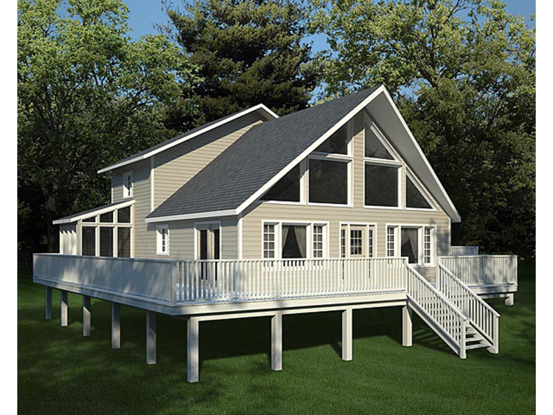 Rustic Home Plan Rear Photo 01 - Grove Park A-Frame Home 038D-0002 | House Plans and More