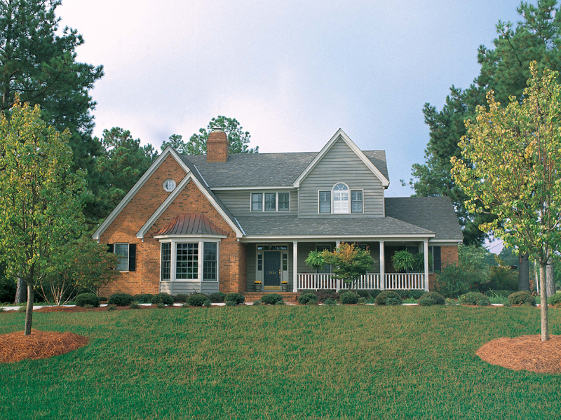 Traditional Country Home With Front Covered Porch