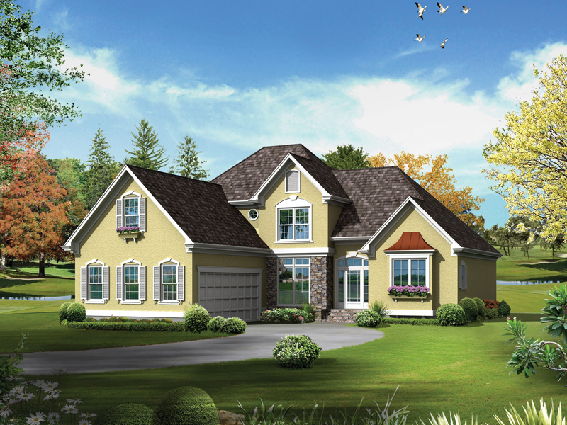Tudor House Plan Front of Home - Bridgeport Mill European Home 040D-0019 | House Plans and More