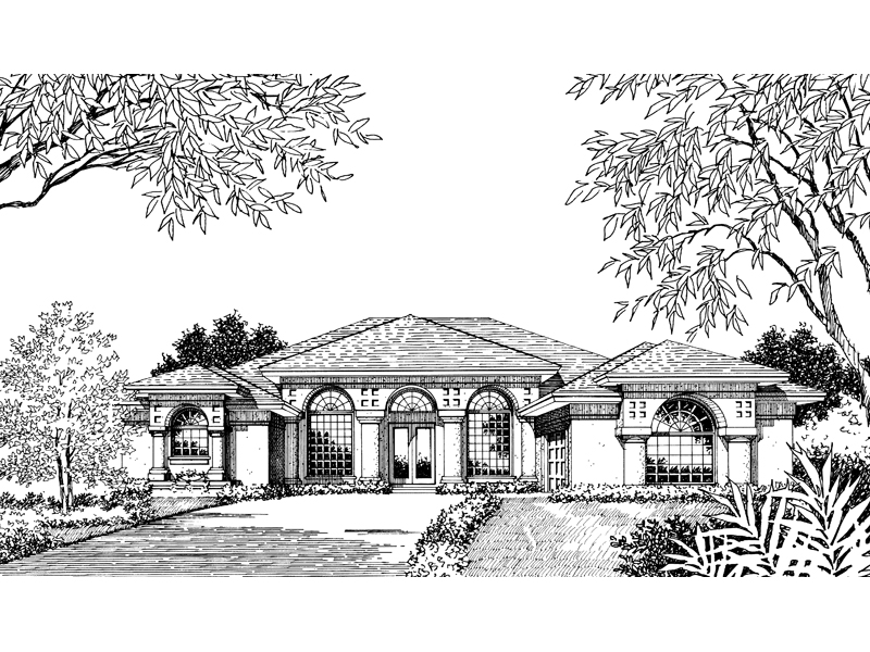 Spanish House Plan Front Image of House - Siesta Hill Florida Style Home 047D-0048 | House Plans and More
