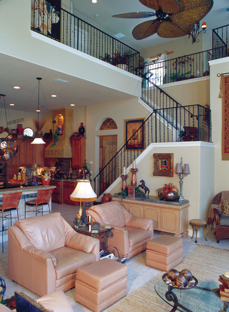 Luxury House Plan Family Room Photo 01 - Corvina Mediterranean Home 047D-0064 | House Plans and More