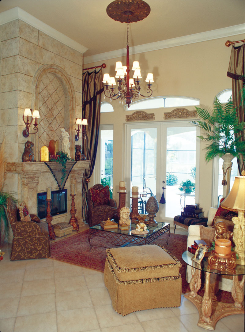 Luxury House Plan Living Room Photo 01 - Corvina Mediterranean Home 047D-0064 | House Plans and More