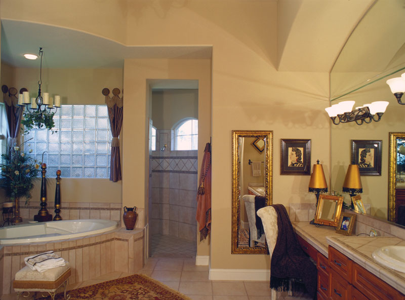 Luxury House Plan Master Bathroom Photo 01 - Corvina Mediterranean Home 047D-0064 | House Plans and More