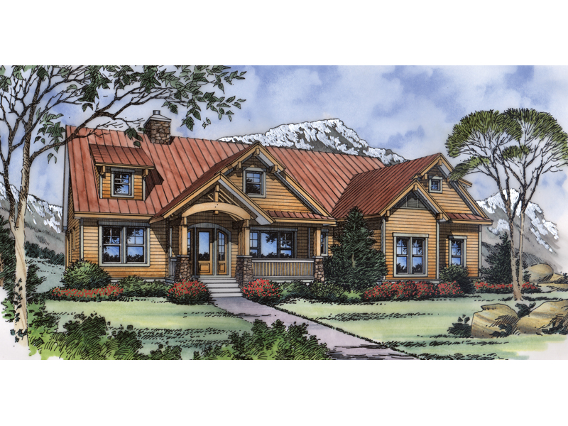 Craftsman Home With Rustic Log Home Style