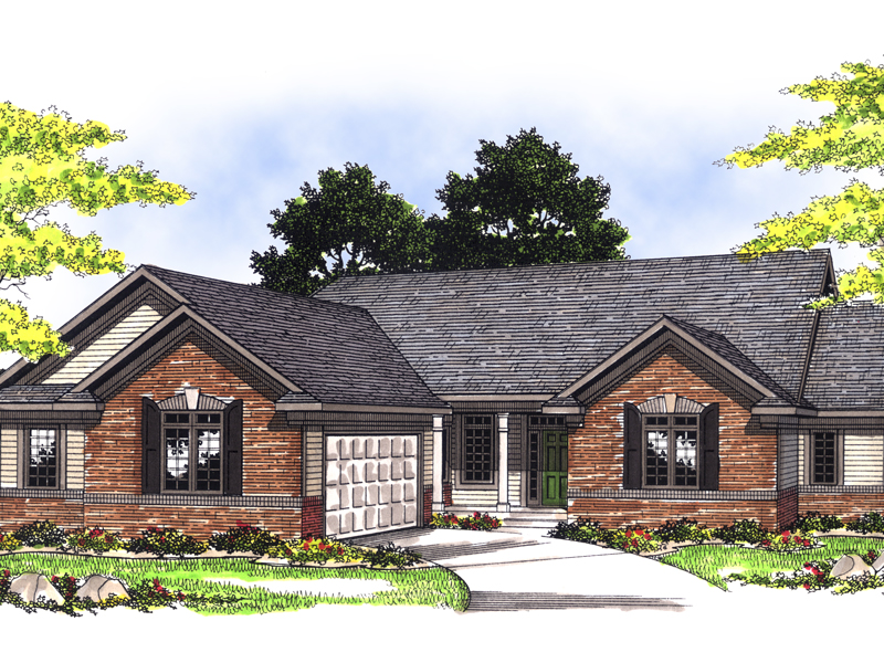 Sarandon Traditional Ranch Home Plan 051D-0396   House Plans ... on house plans with rear entry garage, house plans with interior entry garage, house with garage on side, house plans with front screened porch, house plans with front living room, house plans with back entry garage, house plans with front fireplace,