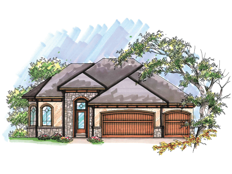 Ranch House Plan Front of Home - Nixon Ranch Style Home 051D-0633 | House Plans and More