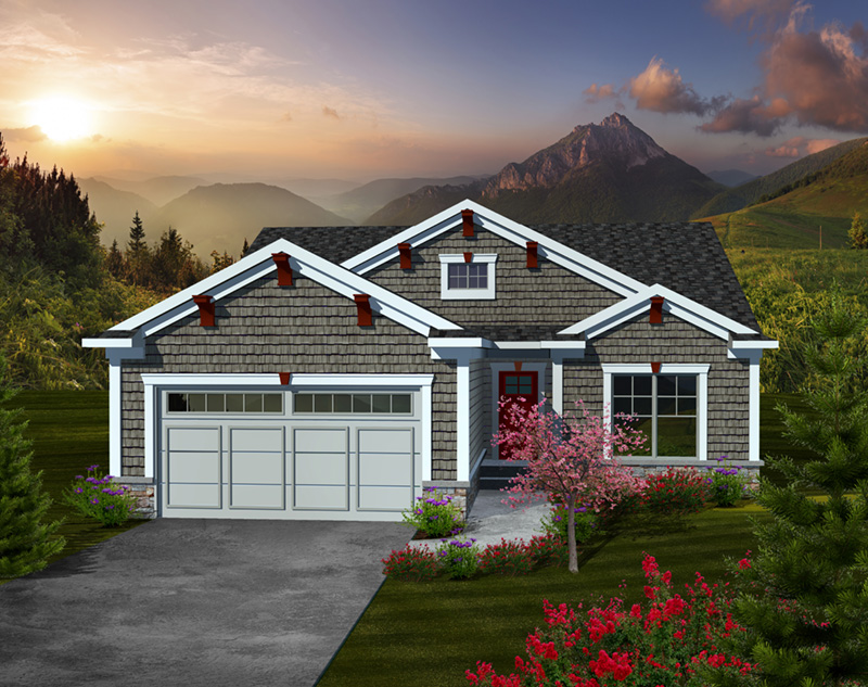 Ranch House Plan Front of Home - Wilson Farm Craftsman Home 051D-0736   House Plans and More