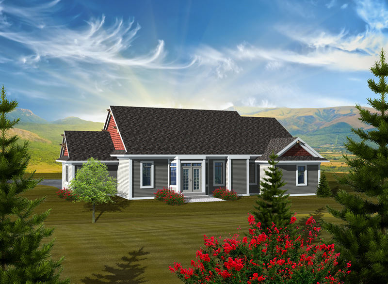 Arts & Crafts House Plan Rear Photo 01 - Watford Hill Rustic Home 051D-0738 | House Plans and More