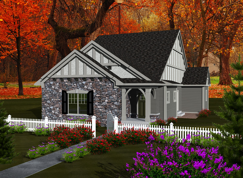 Tudor House Plan Front of Home - Mill Place Tudor Home 051D-0739 | House Plans and More