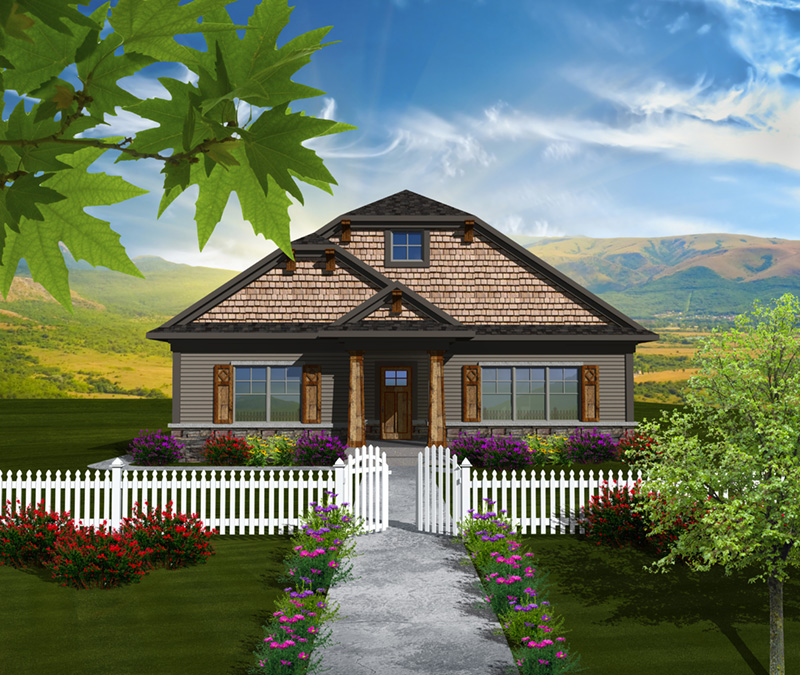 Shingle House Plan Front of Home - Eileen Hill Craftsman Home 051D-0740 | House Plans and More