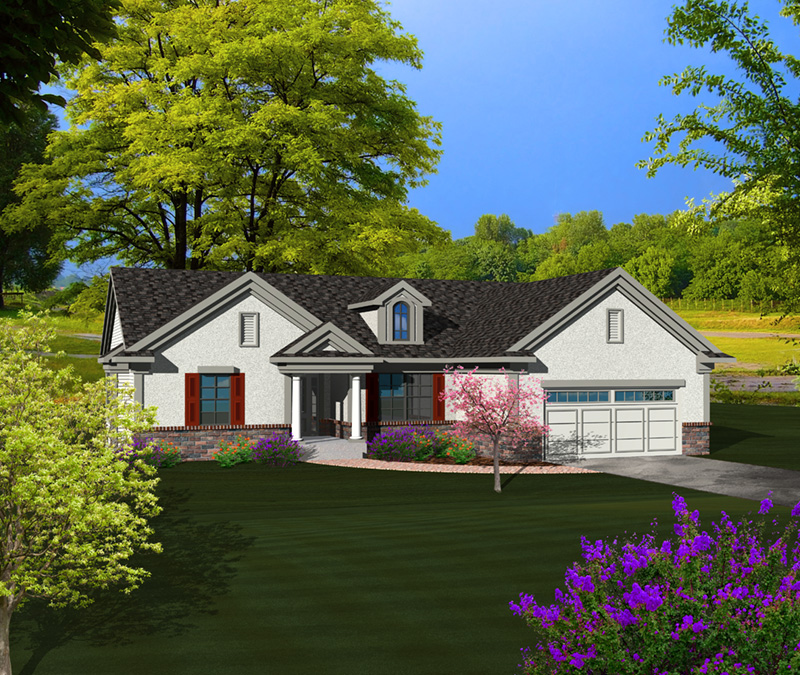 Sunbelt Home Plan Front of Home - Colton Ridge Ranch Home 051D-0741 | House Plans and More