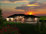 Rustic Home Plan Front of Home - Concord Bay Ranch Home 051D-0745   House Plans and More