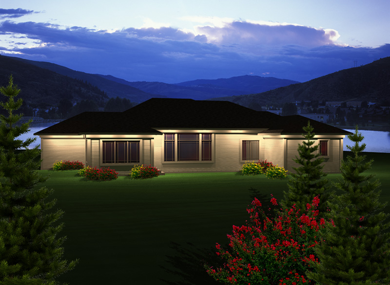 Rustic Home Plan Rear Photo 01 - Concord Bay Ranch Home 051D-0745   House Plans and More