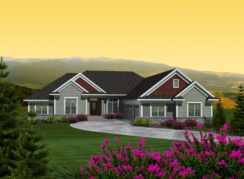 Rustic Home Plan Front of Home - Martin Place Ranch Home 051D-0749   House Plans and More