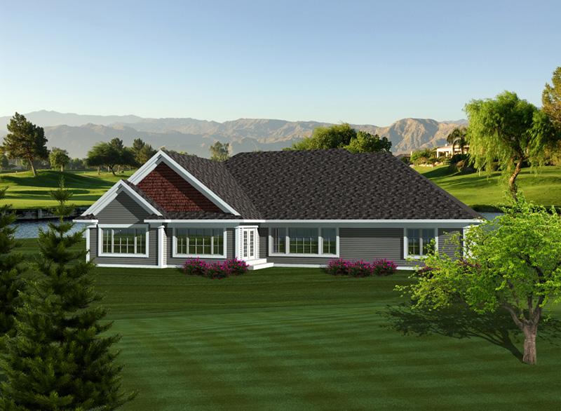 Rustic Home Plan Rear Photo 01 - Martin Place Ranch Home 051D-0749   House Plans and More