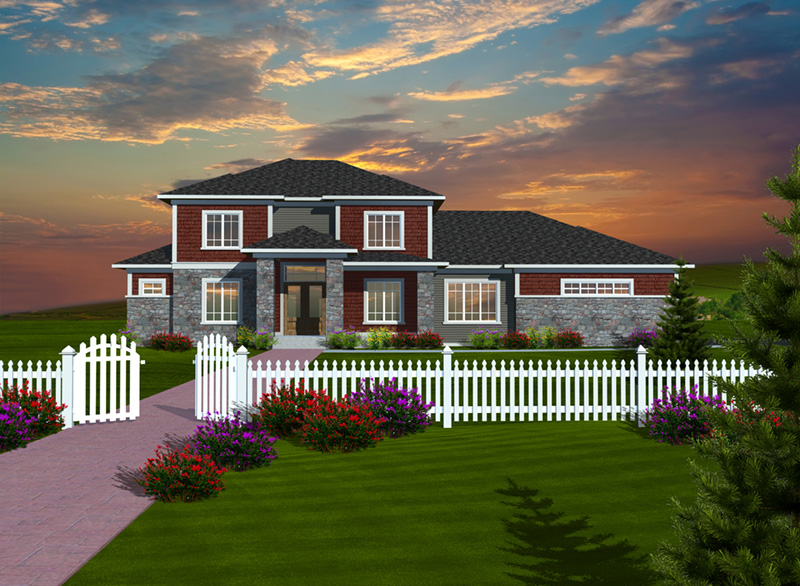 Traditional House Plan Front of Home - Pimlico Cove Prairie Home 051D-0753   House Plans and More