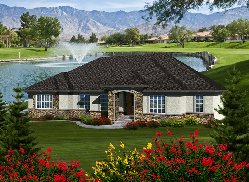 Contemporary House Plan Front of Home - Elwyn Park Sunbelt Home 051D-0754 | House Plans and More