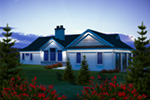 Craftsman House Plan Rear Photo 01 - Baywood Shingle Ranch Home 051D-0764 | House Plans and More