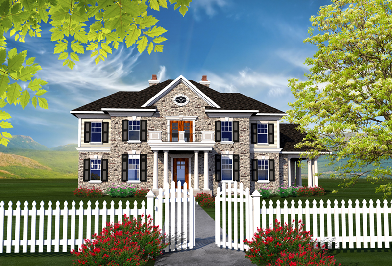 Southern Plantation House Plan Front of Home - Gillian Georgian Style Home 051D-0770 | House Plans and More