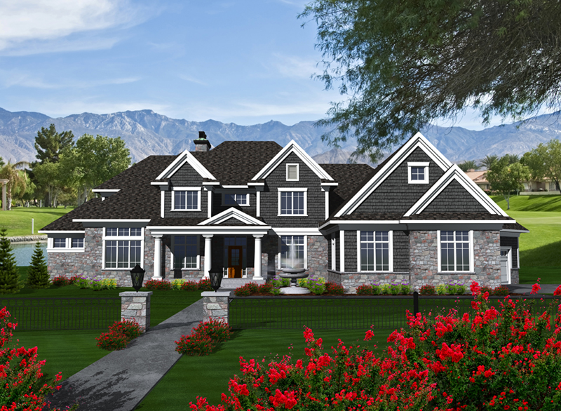 Luxury House Plan Front of Home - Keagan Luxury Shingle Home 051D-0773 | House Plans and More