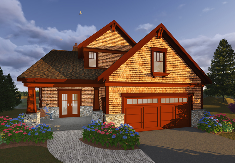 Traditional House Plan Front of Home - Owen Point Craftsman Home 051D-0915   House Plans and More
