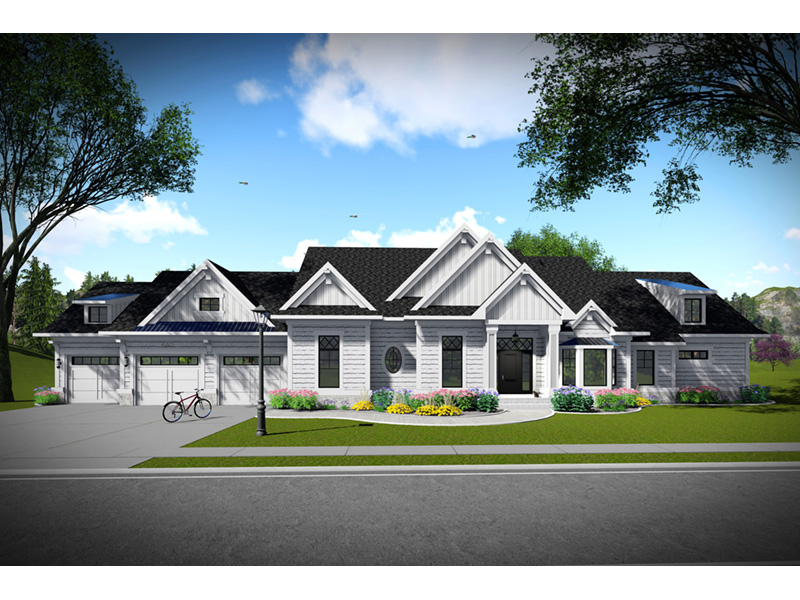 Country French House Plan Front Photo 02 - Olson Crossing Ranch Home 051D-0960 | House Plans and More