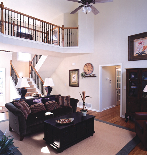 Shingle House Plan Living Room Photo 02 - Farmers Mill Country Home 052D-0078 | House Plans and More