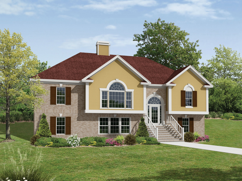 Traditional House Plan Front Image - Ruthland Split-Level Home 053D-0055   House Plans and More