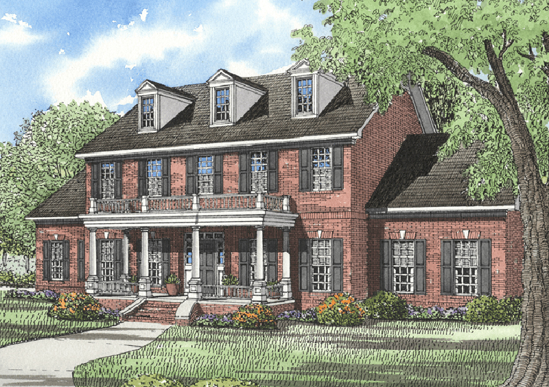 055D 0025 front main 8 - 20+ House Plans Two Story With Balcony  Images