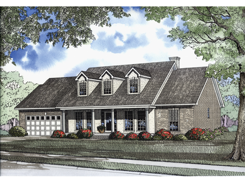 Southerland Colonial Ranch Home Plan 055D-0189 | House Plans ... on french house plans with dormers, small house plans with dormers, country home plans with dormers,