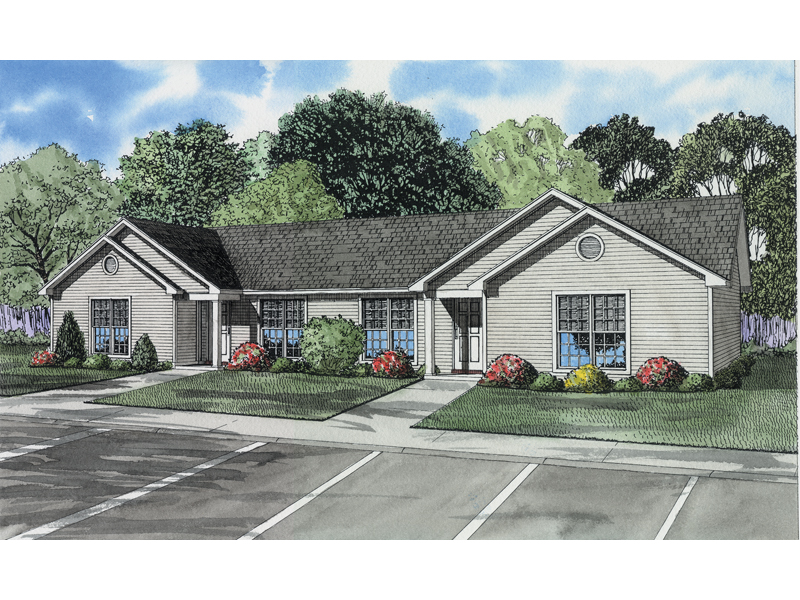 Winfield Ranch Style Duplex Plan 055D-0395 | House Plans and ... on