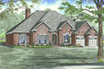 Traditional House Plan Front Image - Luxury One Story House | Traditional Ranch House